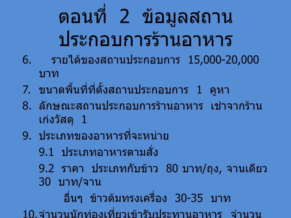 ตอนที่ 2 ข้อมูลสถาน ประกอบการร้านอาหาร 6. รายได้ของสถานประกอบการ 15,000-20,000 บาท 7.