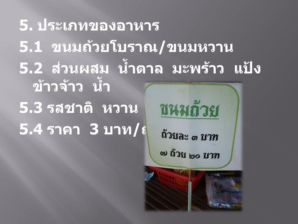 5. ประเภทของอาหาร 5.1 ขนมถ้วยโบราณ / ขนมหวาน 5.2 ส่วนผสม น้ำตาล มะพร้าว แป้ง ข้าวจ้าว น้ำ 5.3 รสชาติ หวาน มัน เค็ม 5.4 ราคา 3 บาท / ถ้วย