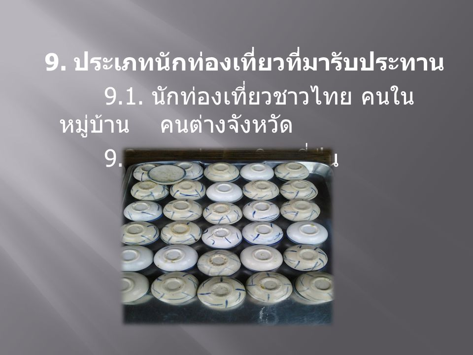 9. ประเภทนักท่องเที่ยวที่มารับประทาน 9.1. นักท่องเที่ยวชาวไทย คนใน หมู่บ้าน คนต่างจังหวัด 9.2. ชาวต่างชาติ ญี่ปุ่น