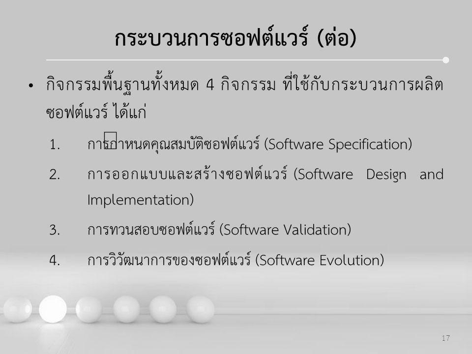 Powerpoint Templates 17 กระบวนการซอฟต์แวร์ (ต่อ) กิจกรรมพื้นฐานทั้งหมด 4 กิจกรรม ที่ใช้กับกระบวนการผลิต ซอฟต์แวร์ ได้แก่ 1.การกำหนดคุณสมบัติซอฟต์แวร์