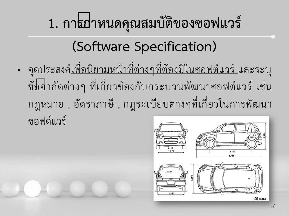 Powerpoint Templates 18 1. การกำหนดคุณสมบัติของซอฟแวร์ (Software Specification) จุดประสงค์เพื่อนิยามหน้าที่ต่างๆที่ต้องมีในซอฟต์แวร์ และระบุ ข้อจำกัดต