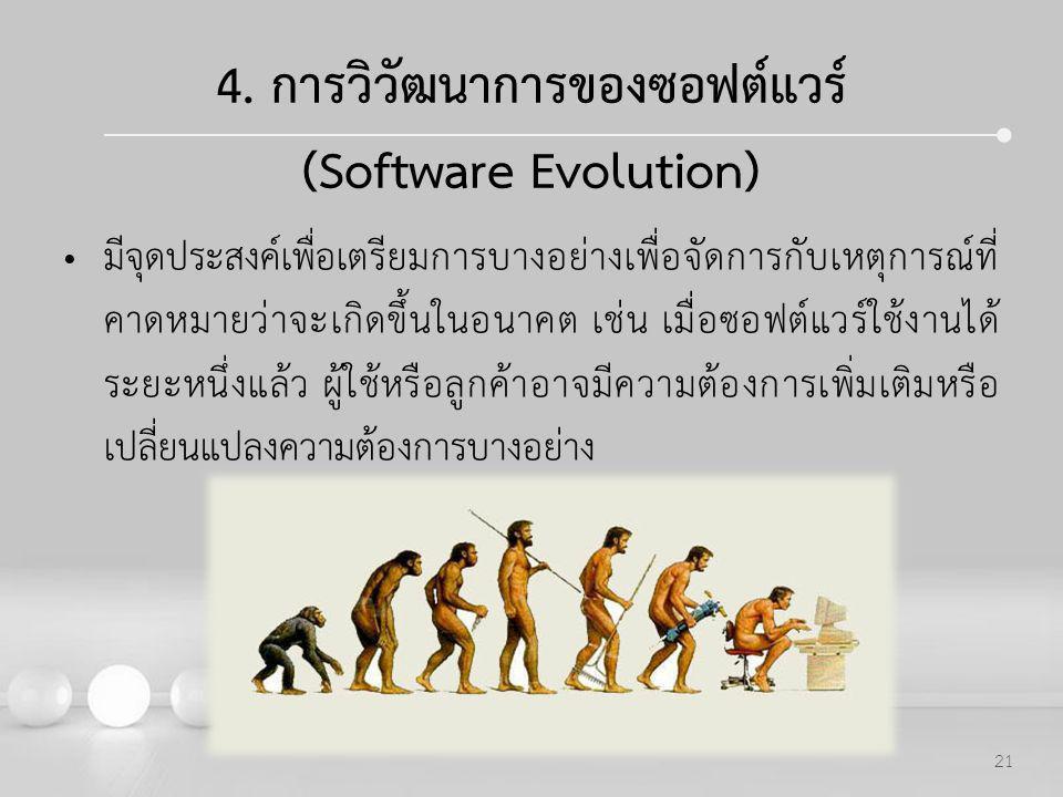 Powerpoint Templates 21 4. การวิวัฒนาการของซอฟต์แวร์ (Software Evolution) มีจุดประสงค์เพื่อเตรียมการบางอย่างเพื่อจัดการกับเหตุการณ์ที่ คาดหมายว่าจะเกิ