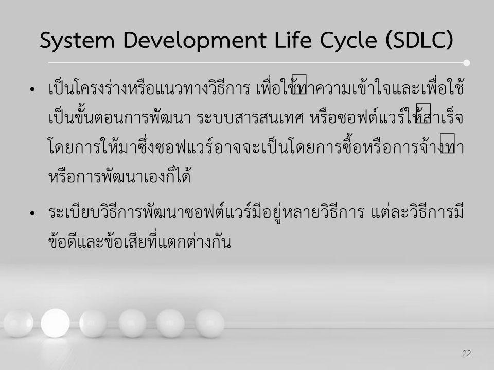Powerpoint Templates 22 System Development Life Cycle (SDLC) เป็นโครงร่างหรือแนวทางวิธีการ เพื่อใช้ทำความเข้าใจและเพื่อใช้ เป็นขั้นตอนการพัฒนา ระบบสาร