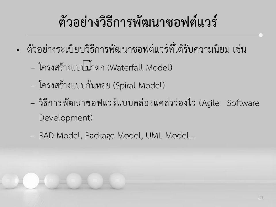 Powerpoint Templates 24 ตัวอย่างวิธีการพัฒนาซอฟต์แวร์ ตัวอย่างระเบียบวิธีการพัฒนาซอฟต์แวร์ที่ได้รับความนิยม เช่น –โครงสร้างแบบน้ำตก (Waterfall Model)