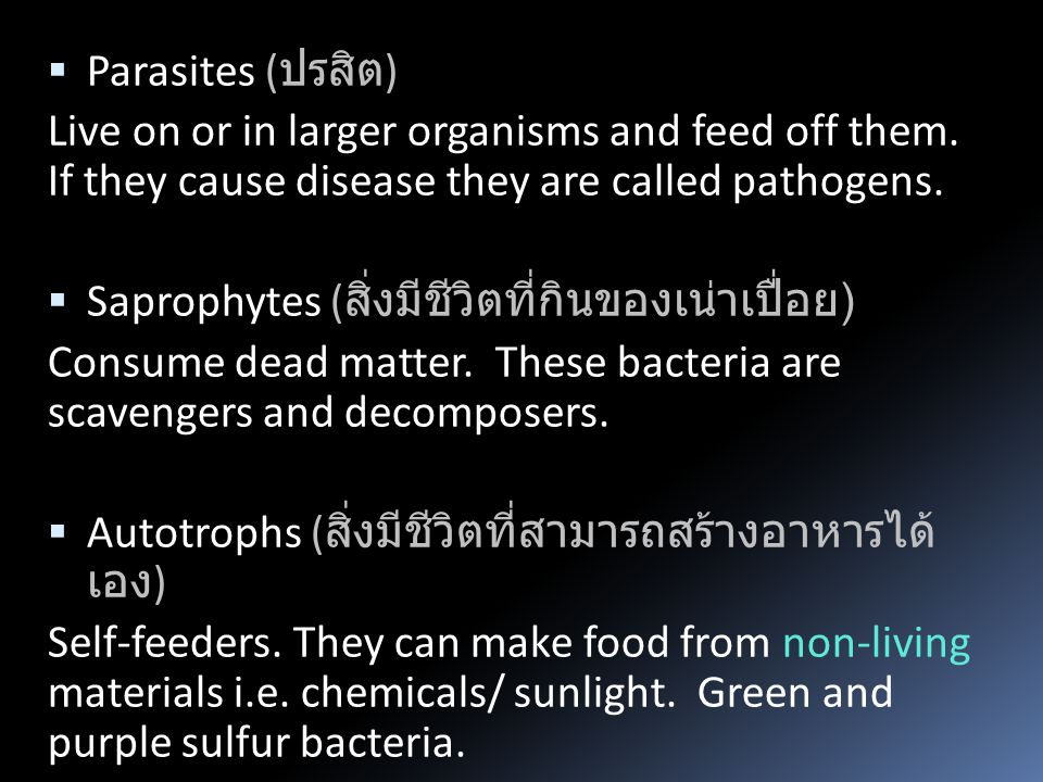 Parasites ( ปรสิต ) Live on or in larger organisms and feed off them.