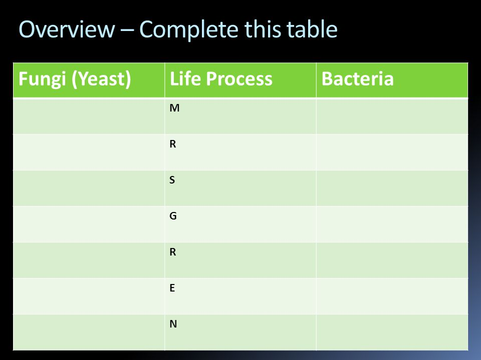 Overview – Complete this table Fungi (Yeast)Life ProcessBacteria M R S G R E N