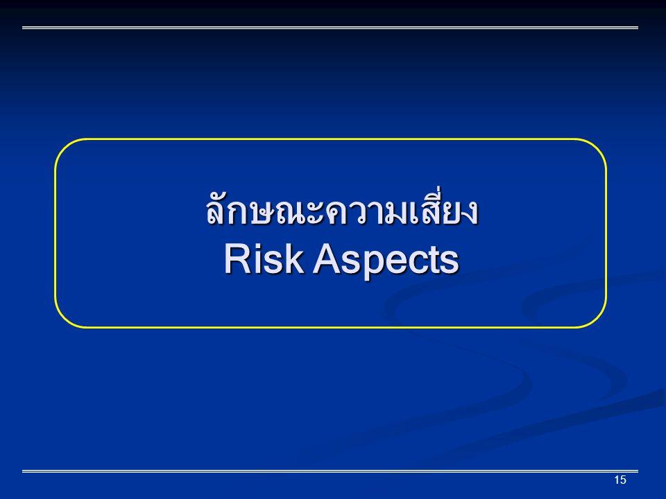 15 ลักษณะความเสี่ยง Risk Aspects
