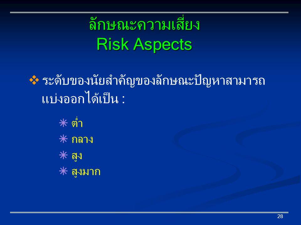 28  ระดับของนัยสำคัญของลักษณะปัญหาสามารถ แบ่งออกได้เป็น :  ต่ำ  กลาง  สูง  สูงมาก ลักษณะความเสี่ยง Risk Aspects