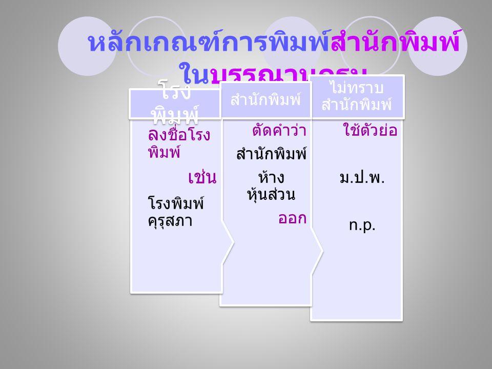 หลักเกณฑ์การพิมพ์สำนักพิมพ์ ในบรรณานุกรม ใช้ตัวย่อ ม.