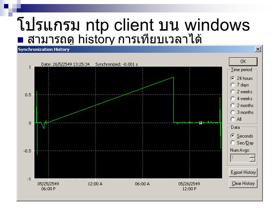 สามารถดู history การเทียบเวลาได้ โปรแกรม ntp client บน windows