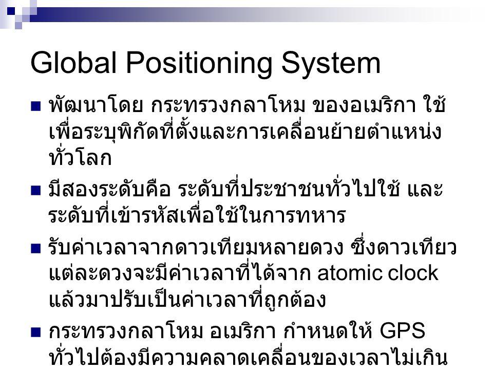 Global Positioning System พัฒนาโดย กระทรวงกลาโหม ของอเมริกา ใช้ เพื่อระบุพิกัดที่ตั้งและการเคลื่อนย้ายตำแหน่ง ทั่วโลก มีสองระดับคือ ระดับที่ประชาชนทั่วไปใช้ และ ระดับที่เข้ารหัสเพื่อใช้ในการทหาร รับค่าเวลาจากดาวเทียมหลายดวง ซึ่งดาวเทียว แต่ละดวงจะมีค่าเวลาที่ได้จาก atomic clock แล้วมาปรับเป็นค่าเวลาที่ถูกต้อง กระทรวงกลาโหม อเมริกา กำหนดให้ GPS ทั่วไปต้องมีความคลาดเคลื่อนของเวลาไม่เกิน 340 นาโนวินาที