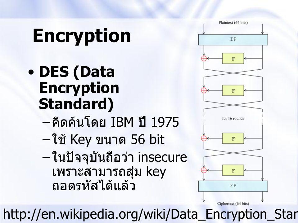 DES (Data Encryption Standard) – คิดค้นโดย IBM ปี 1975 – ใช้ Key ขนาด 56 bit – ในปัจจุบันถือว่า insecure เพราะสามารถสุ่ม key ถอดรหัสได้แล้ว Encryption