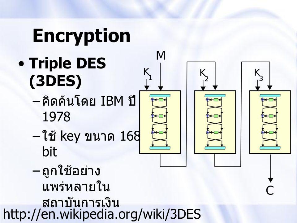 Triple DES (3DES) – คิดค้นโดย IBM ปี 1978 – ใช้ key ขนาด 168 bit – ถูกใช้อย่าง แพร่หลายใน สถาบันการเงิน Encryption http://en.wikipedia.org/wiki/3DES