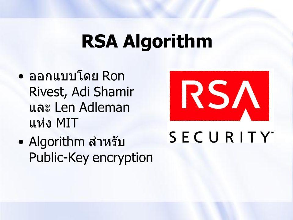 RSA Algorithm ออกแบบโดย Ron Rivest, Adi Shamir และ Len Adleman แห่ง MIT Algorithm สำหรับ Public-Key encryption