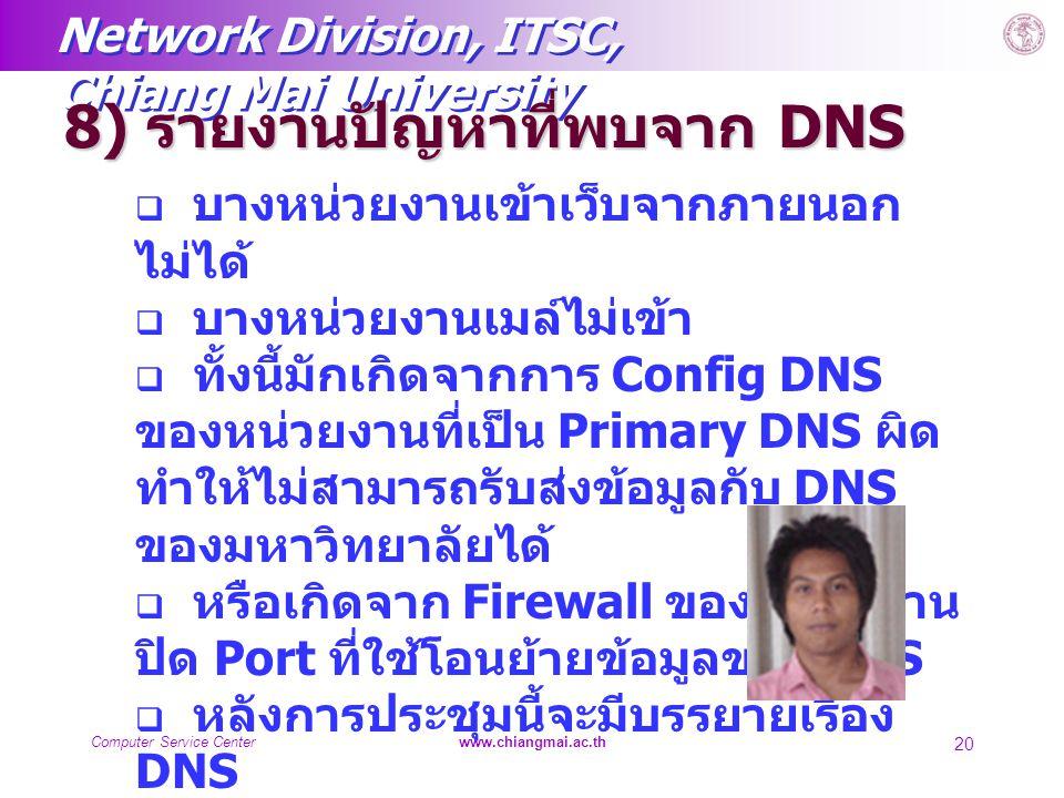 Network Division, ITSC, Chiang Mai University Computer Service Centerwww.chiangmai.ac.th 20 8) รายงานปัญหาที่พบจาก DNS  บางหน่วยงานเข้าเว็บจากภายนอก
