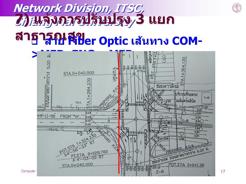 Network Division, ITSC, Chiang Mai University Computer Service Centerwww.chiangmai.ac.th 17 7) แจ้งการปรับปรุง 3 แยก สาธารณสุข  สาย Fiber Optic เส้นท