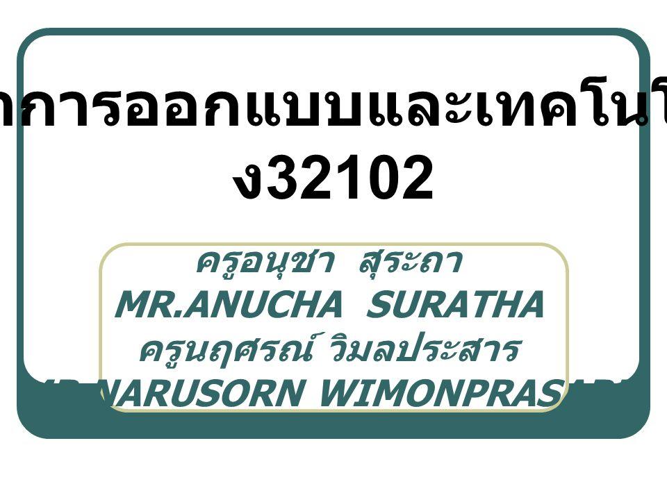 ครูอนุชา สุระถา MR.ANUCHA SURATHA ครูนฤศรณ์ วิมลประสาร MR.NARUSORN WIMONPRASARN วิชาการออกแบบและเทคโนโลยี ง 32102