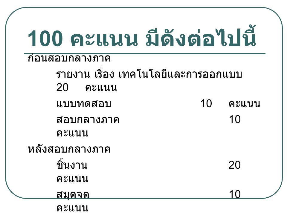 100 คะแนน มีดังต่อไปนี้ ก่อนสอบกลางภาค รายงาน เรื่อง เทคโนโลยีและการออกแบบ 20 คะแนน แบบทดสอบ 10 คะแนน สอบกลางภาค 10 คะแนน หลังสอบกลางภาค ชิ้นงาน 20 คะ