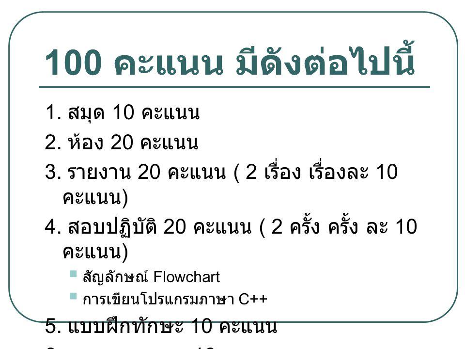 100 คะแนน มีดังต่อไปนี้ 1. สมุด 10 คะแนน 2. ห้อง 20 คะแนน 3. รายงาน 20 คะแนน ( 2 เรื่อง เรื่องละ 10 คะแนน ) 4. สอบปฏิบัติ 20 คะแนน ( 2 ครั้ง ครั้ง ละ