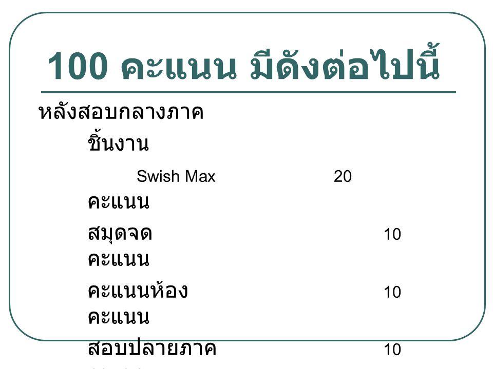 100 คะแนน มีดังต่อไปนี้ หลังสอบกลางภาค ชิ้นงาน Swish Max20 คะแนน สมุดจด 10 คะแนน คะแนนห้อง 10 คะแนน สอบปลายภาค 10 คะแนน