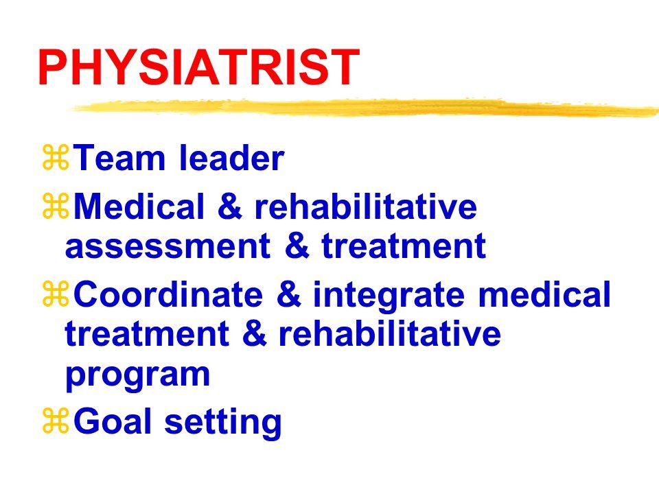 Rehabilitation Team  Physiatrist  Physical therapist  Occupational therapist  Rehabilitation nurse  Psychologist  Speech pathologist  Prostheti