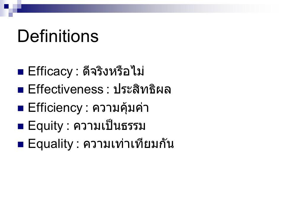 Definitions Efficacy : ดีจริงหรือไม่ Effectiveness : ประสิทธิผล Efficiency : ความคุ้มค่า Equity : ความเป็นธรรม Equality : ความเท่าเทียมกัน