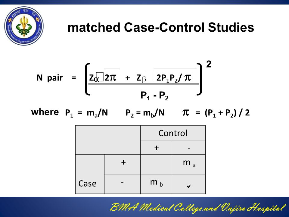 BMA Medical College and Vajira Hospital matched Case-Control Studies N pair = Z 2  + Z 2P 1 P 2 /      P 1 - P 2 P 1 = m a /N P 2 = m b /N  = (