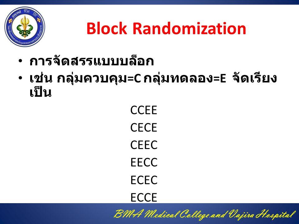 BMA Medical College and Vajira Hospital Block Randomization การจัดสรรแบบบล็อก เช่น กลุ่มควบคุม =C กลุ่มทดลอง =E จัดเรียง เป็น CCEE CECE CEEC EECC ECEC