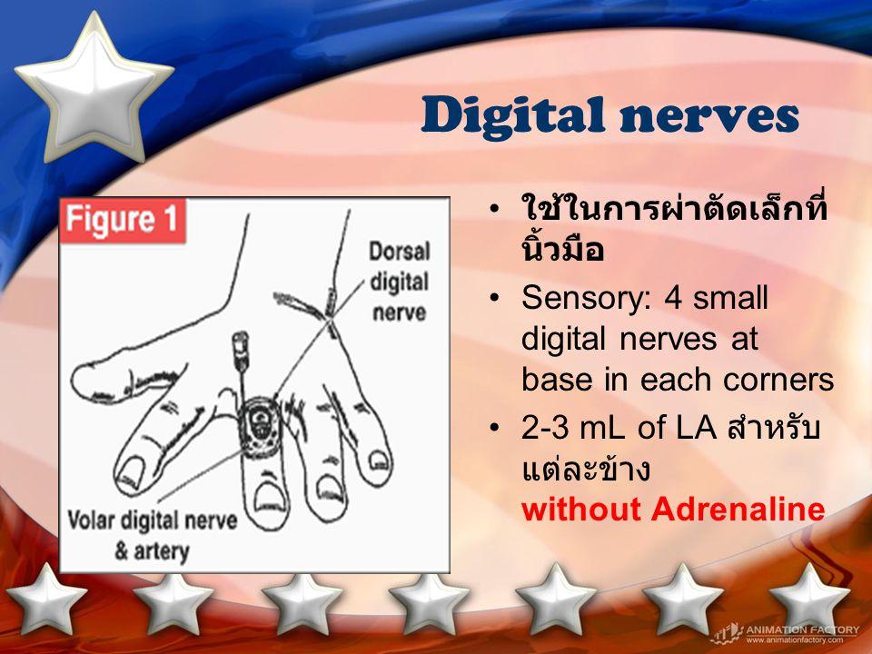 Digital nerves ใช้ในการผ่าตัดเล็กที่ นิ้วมือ Sensory: 4 small digital nerves at base in each corners 2-3 mL of LA สำหรับ แต่ละข้าง without Adrenaline