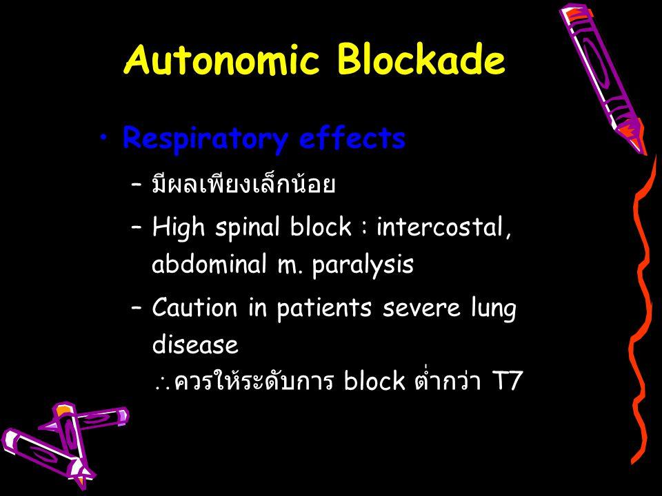 Respiratory effects – มีผลเพียงเล็กน้อย –High spinal block : intercostal, abdominal m. paralysis –Caution in patients severe lung disease  ควรให้ระดั