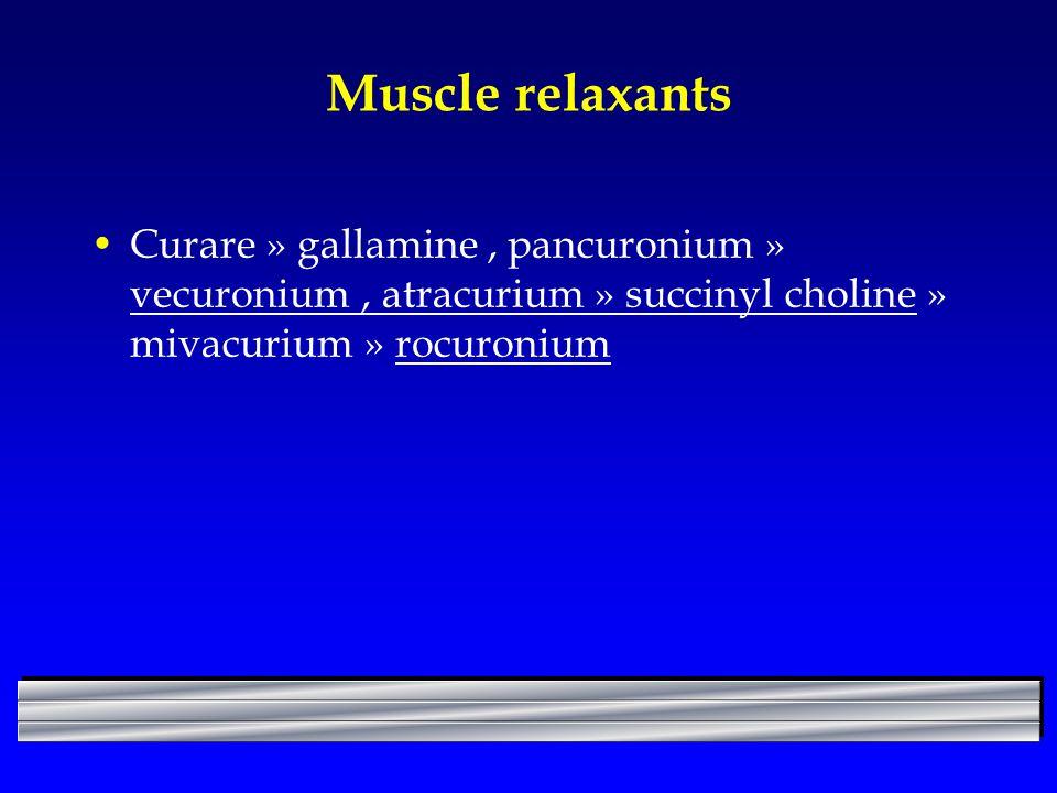 Muscle relaxants Curare » gallamine, pancuronium » vecuronium, atracurium » succinyl choline » mivacurium » rocuronium