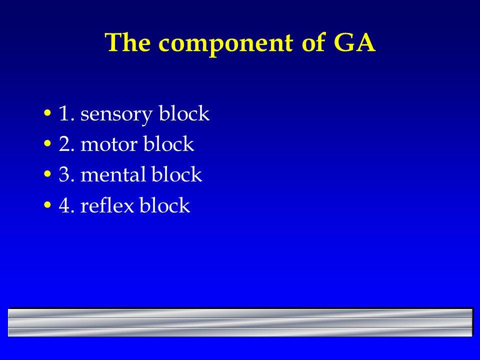 The component of GA 1. sensory block 2. motor block 3. mental block 4. reflex block