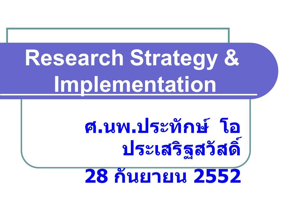 Research Strategy & Implementation ศ. นพ. ประทักษ์ โอ ประเสริฐสวัสดิ์ 28 กันยายน 2552