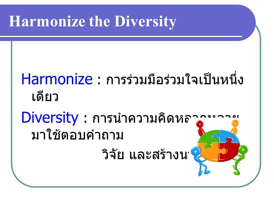 Harmonize the Diversity Harmonize : การร่วมมือร่วมใจเป็นหนึ่ง เดียว Diversity : การนำความคิดหลากหลาย มาใช้ตอบคำถาม วิจัย และสร้างนวัตกรรม