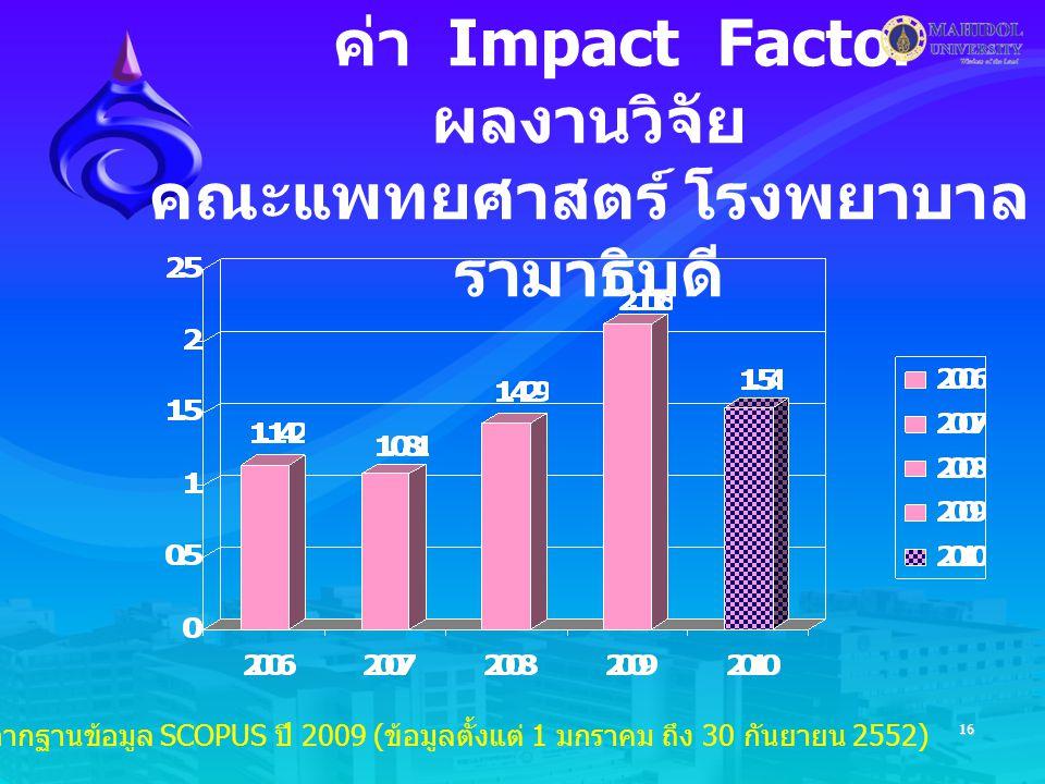 16 ค่า Impact Factor ผลงานวิจัย คณะแพทยศาสตร์ โรงพยาบาล รามาธิบดี * ข้อมูลจากฐานข้อมูล SCOPUS ปี 2009 ( ข้อมูลตั้งแต่ 1 มกราคม ถึง 30 กันยายน 2552)