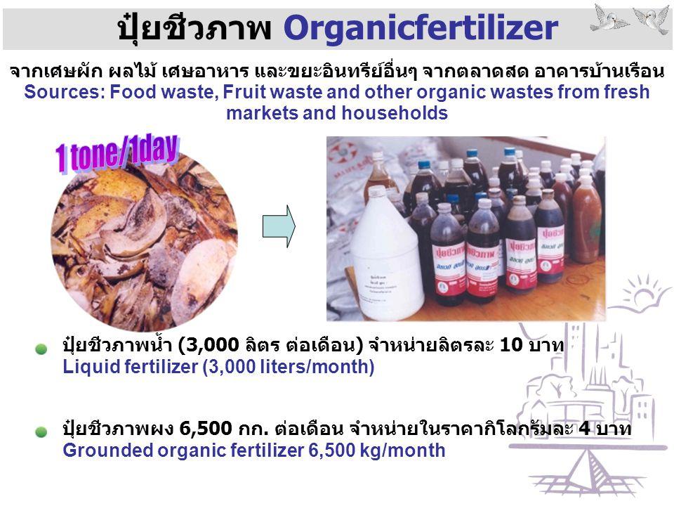 ปุ๋ยชีวภาพ Organicfertilizer ปุ๋ยชีวภาพน้ำ (3,000 ลิตร ต่อเดือน) จำหน่ายลิตรละ 10 บาท Liquid fertilizer (3,000 liters/month) จากเศษผัก ผลไม้ เศษอาหาร