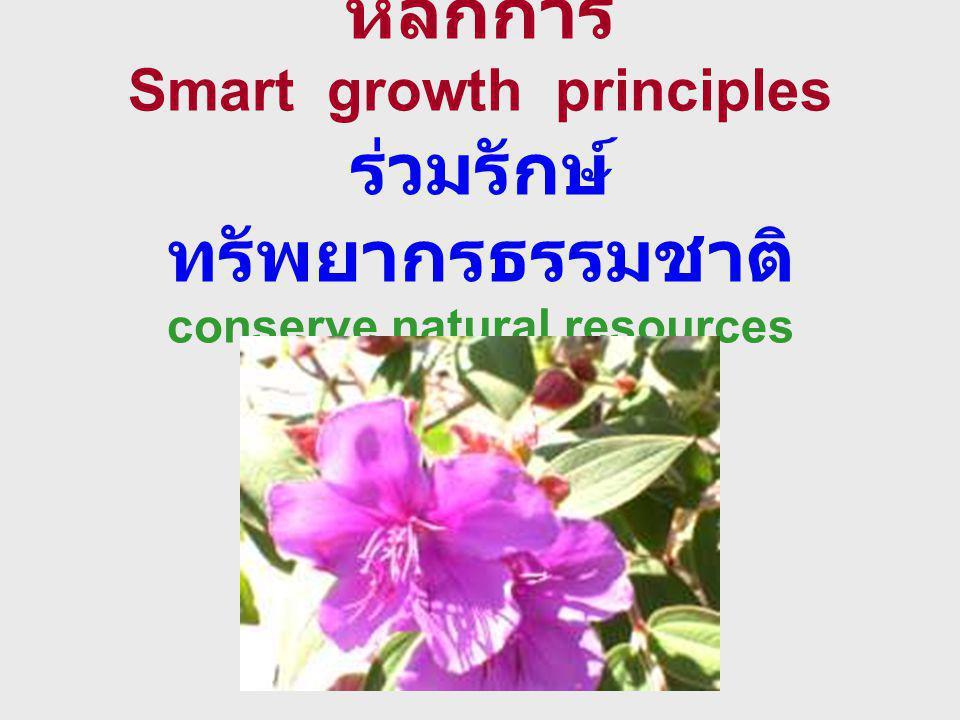 หลักการ Smart growth principles ร่วมรักษ์ ทรัพยากรธรรมชาติ conserve natural resources