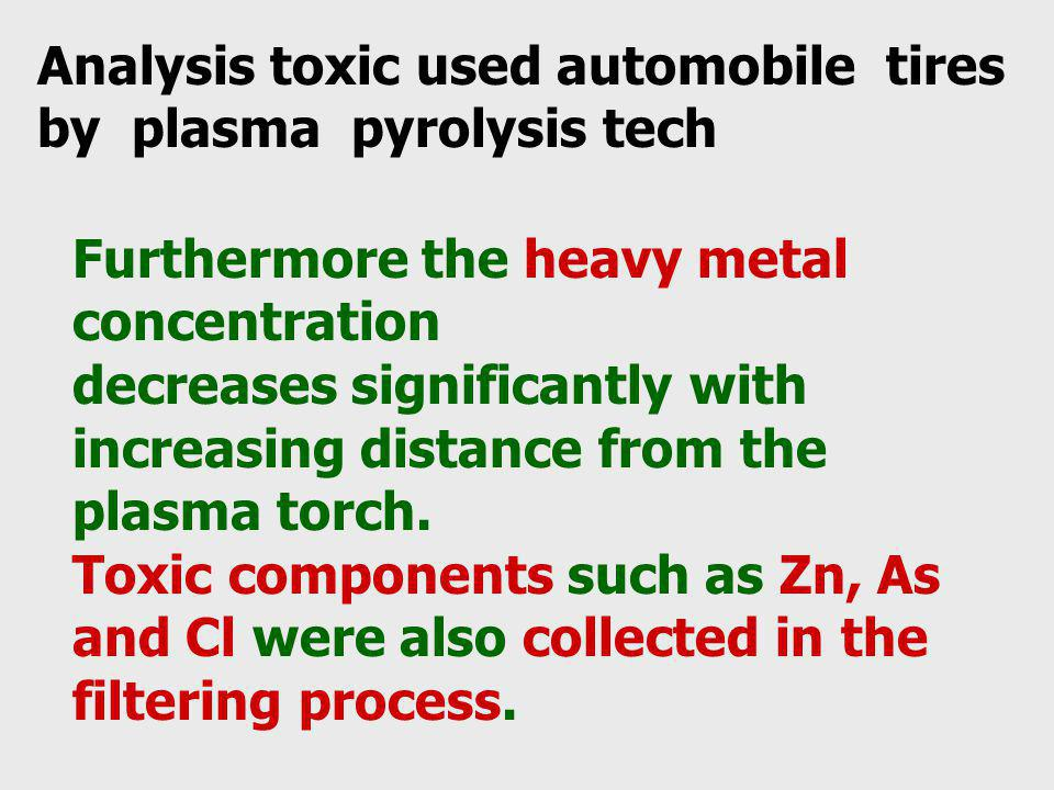 Furthermore the heavy metal concentration decreases significantly with increasing distance from the plasma torch. Toxic components such as Zn, As and