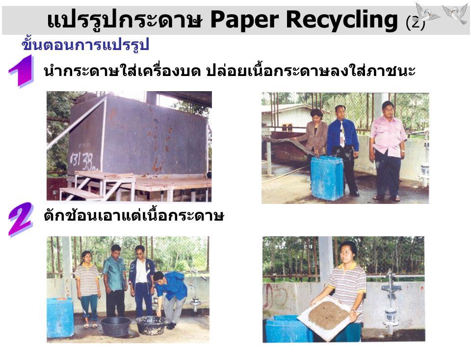 แปรรูปกระดาษ Paper Recycling (2) ขั้นตอนการแปรรูป นำกระดาษใส่เครื่องบด ปล่อยเนื้อกระดาษลงใส่ภาชนะ ตักช้อนเอาแต่เนื้อกระดาษ
