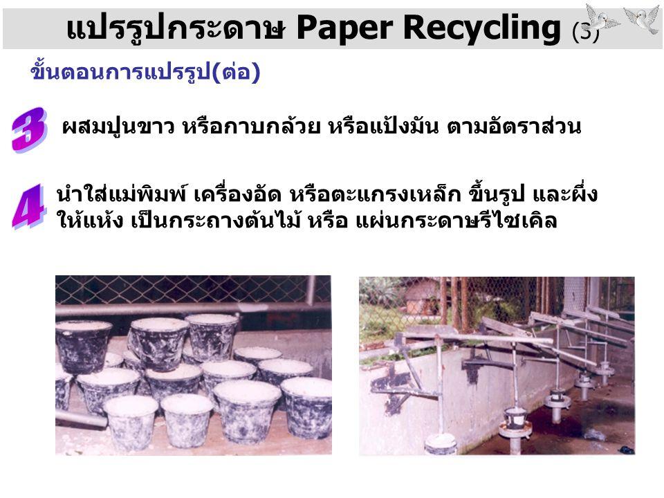 แปรรูปกระดาษ Paper Recycling (3) ขั้นตอนการแปรรูป(ต่อ) ผสมปูนขาว หรือกาบกล้วย หรือแป้งมัน ตามอัตราส่วน นำใส่แม่พิมพ์ เครื่องอัด หรือตะแกรงเหล็ก ขึ้นรู