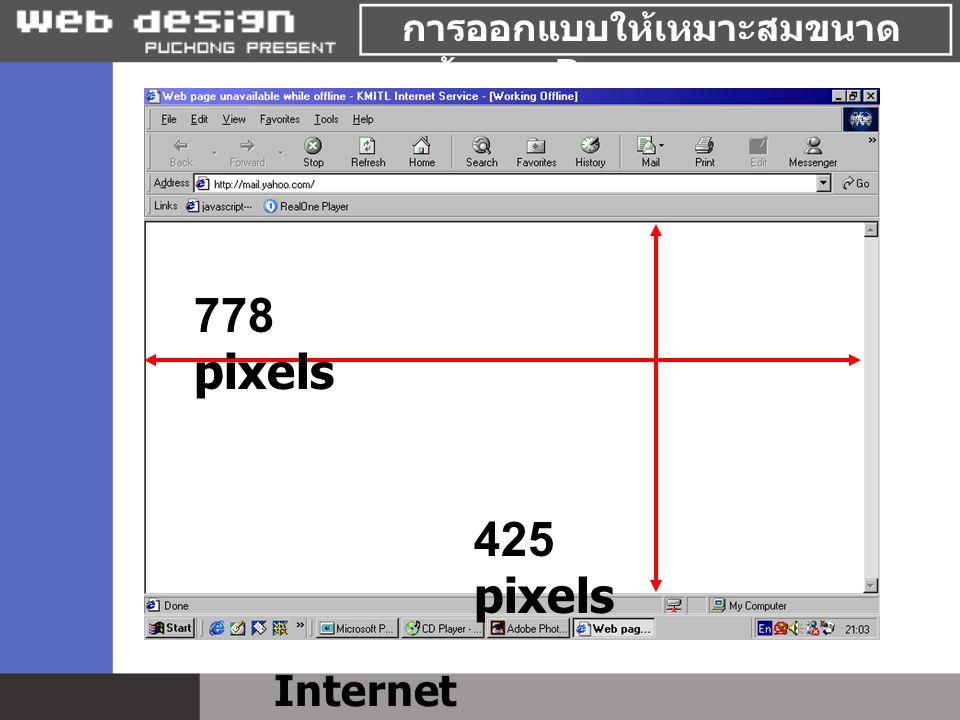 การออกแบบให้เหมาะสมขนาด หน้าของ Browser Internet Explorer 778 pixels 425 pixels
