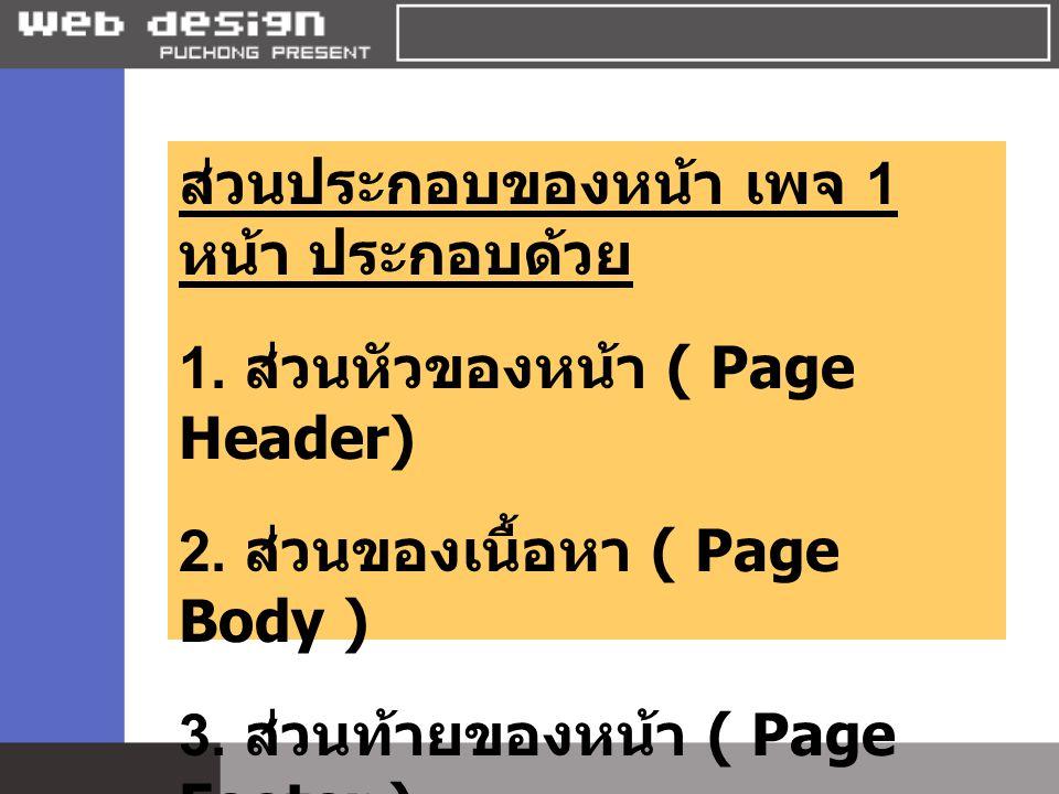 ส่วนประกอบของหน้า เพจ 1 หน้า ประกอบด้วย 1. ส่วนหัวของหน้า ( Page Header) 2. ส่วนของเนื้อหา ( Page Body ) 3. ส่วนท้ายของหน้า ( Page Footer )