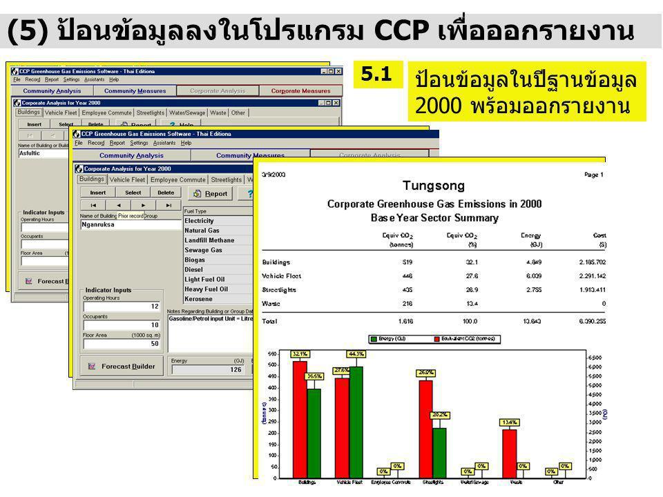 (5) ป้อนข้อมูลลงในโปรแกรม CCP เพื่อออกรายงาน ป้อนข้อมูลในปีฐานข้อมูล 2000 พร้อมออกรายงาน 5.1