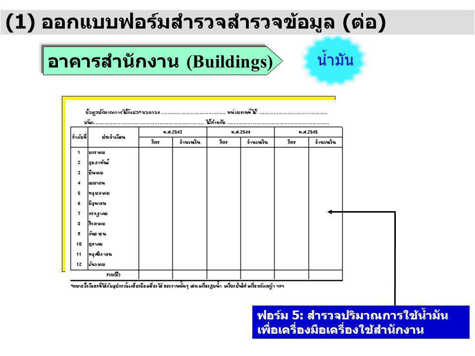 อาคารสำนักงาน (Buildings) (1) ออกแบบฟอร์มสำรวจสำรวจข้อมูล (ต่อ) น้ำมัน ฟอร์ม 5: สำรวจปริมาณการใช้น้ำมัน เพื่อเครื่องมือเครื่องใช้สำนักงาน