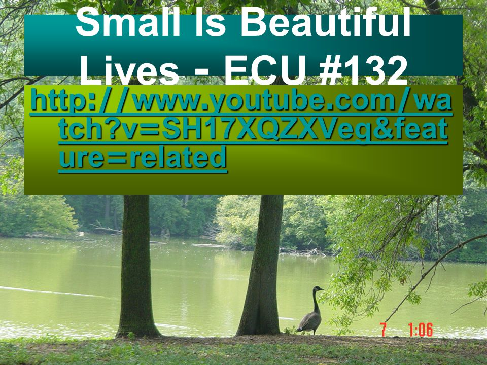Small Is Beautiful Lives - ECU #132 http://www.youtube.com/wa tch?v=SH17XQZXVeg&feat ure=related http://www.youtube.com/wa tch?v=SH17XQZXVeg&feat ure=