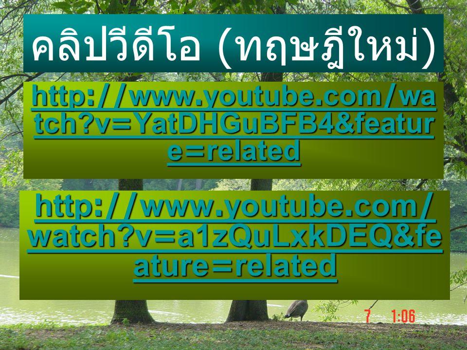 คลิปวีดีโอ ( ทฤษฎีใหม่ ) http://www.youtube.com/wa tch?v=YatDHGuBFB4&featur e=related http://www.youtube.com/wa tch?v=YatDHGuBFB4&featur e=related htt