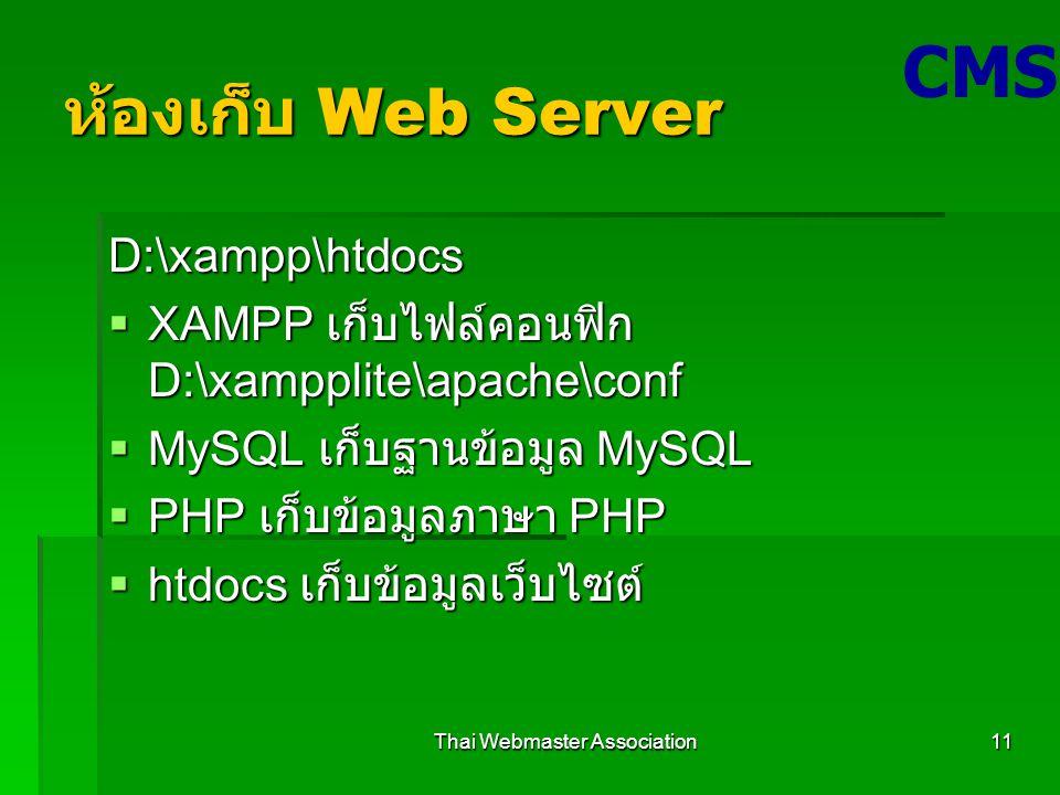 Thai Webmaster Association11 ห้องเก็บ Web Server D:\xampp\htdocs  XAMPP เก็บไฟล์คอนฟิก D:\xampplite\apache\conf  MySQL เก็บฐานข้อมูล MySQL  PHP เก็บข้อมูลภาษา PHP  htdocs เก็บข้อมูลเว็บไซต์ CMS
