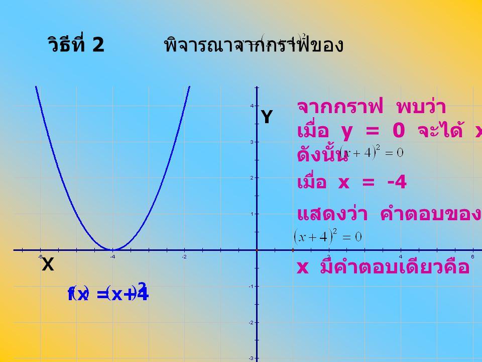 วิธีที่ 2 พิจารณาจากกราฟของ จากกราฟ พบว่า เมื่อ y = 0 จะได้ x = -4 ดังนั้น แสดงว่า คำตอบของสมการ x มีคำตอบเดียวคือ -4 เมื่อ x = -4