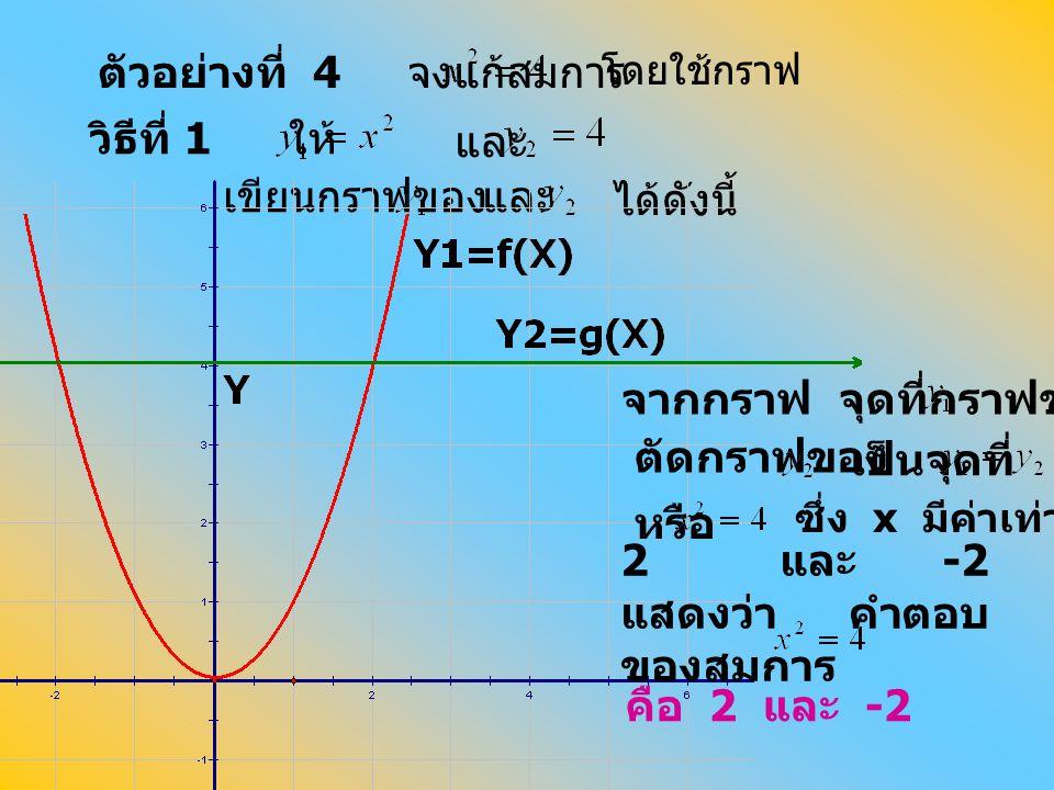 ตัวอย่างที่ 4 จงแก้สมการ วิธีที่ 1 ให้ และ เขียนกราฟของ และ ได้ดังนี้ โดยใช้กราฟ จากกราฟ จุดที่กราฟของ ตัดกราฟของ เป็นจุดที่ หรือ ซึ่ง x มีค่าเท่ากับ