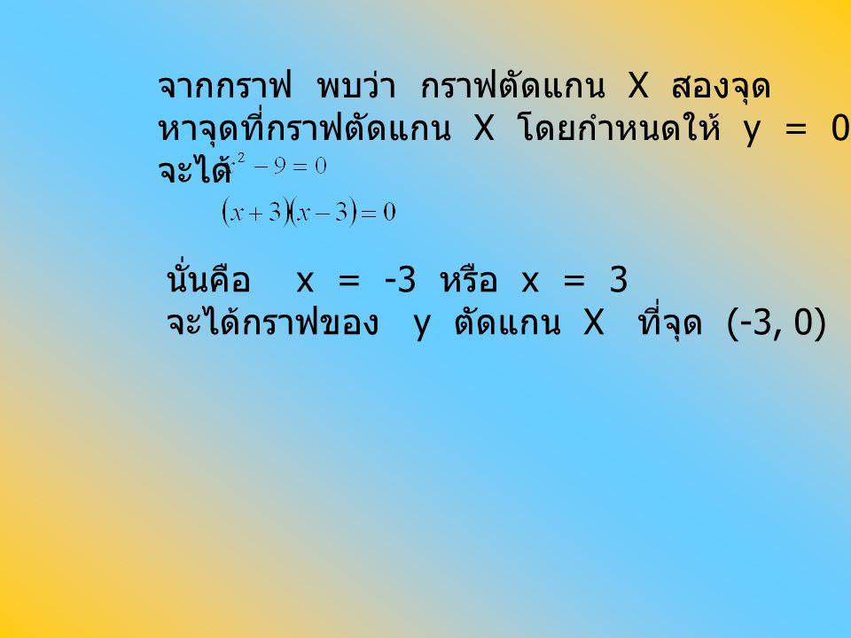 จากกราฟ พบว่า กราฟตัดแกน X สองจุด หาจุดที่กราฟตัดแกน X โดยกำหนดให้ y = 0 จะได้ นั่นคือ x = -3 หรือ x = 3 จะได้กราฟของ y ตัดแกน X ที่จุด (-3, 0) และ (3